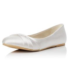Femmes Satiné Talon plat Bout fermé Chaussures plates (047048008)