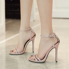 Femmes PU Talon stiletto Sandales Escarpins À bout ouvert avec Boucle chaussures (087125946)