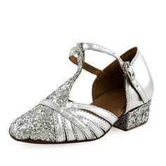 Niños Cuero Brillo Chispeante Tacones Sala de Baile con Tira T Zapatos de danza (053013188)