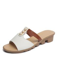Женщины кожа Плоский каблук Сандалии На плокой подошве Открытый мыс Босоножки Тапочки с Имитация Перл обувь (087164424)
