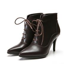 Женщины кожа Высокий тонкий каблук Платформа Полусапоги с Плетеный ремень Соединение врасщеп обувь (088098049)