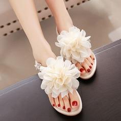 Mulheres Couro Sem salto Sandálias Beach Wedding Shoes com Flor (047125422)