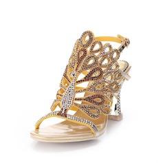 Donna Similpelle Tacco spesso Sandalo Con cinturino con Strass (047083939)