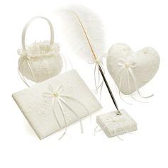 Bruiloft Accessoire Set in Satijn met Borduren (100018015)