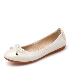 Женщины PU Плоский каблук На плокой подошве Закрытый мыс с бантом обувь (086142462)