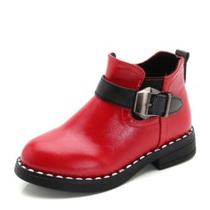 девичий Закрытый мыс Полусапоги дерматин Плоский каблук На плокой подошве Ботинки с пряжка Застежка-молния (207153201)