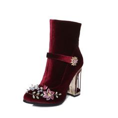 Женщины Замша Устойчивый каблук На каблуках Закрытый мыс Ботинки Полусапоги с хрусталь пряжка обувь (088095912)