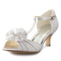 Kvinnor Satäng Stilettklack Peep Toe Pumps Sandaler med Satäng Blomma (047056190)