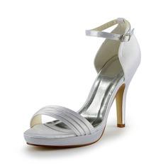 Mulher Cetim Salto cone Plataforma Sandálias com Ruched (047024523)