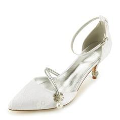 Женщины Кружева кожа Каблук Закрытый мыс На каблуках Сандалии с Каблуки с кристаллами жемчуг (047166036)