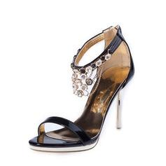 Женщины кожа Высокий тонкий каблук Сандалии с горный хрусталь обувь (087063429)