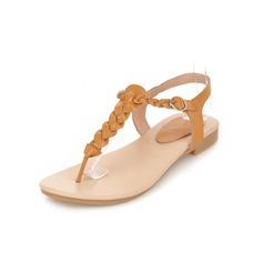 Äkta läder Flat Heel Sandaler Flip Flops med Spänne skor (087050155)