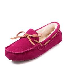 Женщины Замша Плоский каблук На плокой подошве Закрытый мыс с бантом обувь (086149308)