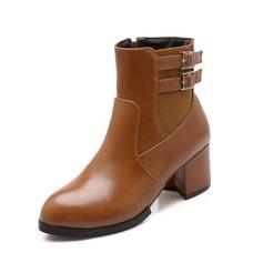 Женщины кожа Устойчивый каблук Полусапоги обувь (088074430)