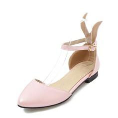 Женщины PVC Плоский каблук Сандалии На плокой подошве с пряжка обувь (086153763)