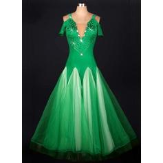 Женщины Одежда для танцев Органза Латино Платья (115091500)