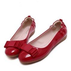 Женщины кожа Высокий тонкий каблук На плокой подошве с бантом обувь (086123653)