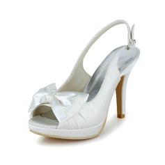 Vrouwen Satijn Stiletto Heel Peep Toe Slingbacks met Strik Buckle (047039764)