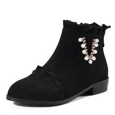 Kvinner Semsket Lav Hæl Støvler Ankelstøvler med Imitert Perle Ruched Glidelås sko (088143732)
