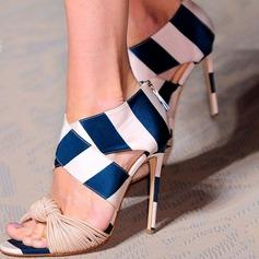 Женщины PU Высокий тонкий каблук Сандалии На каблуках Открытый мыс обувь (085153103)