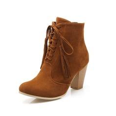 Женщины Замша Устойчивый каблук Полусапоги Мартин сапоги с кисточкой Плетеный ремень обувь (088096251)
