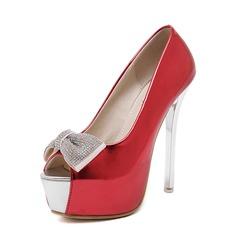 Женщины кожа Высокий тонкий каблук Сандалии Открытый мыс с горный хрусталь бантом обувь (087086208)