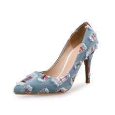 Женщины Ткань Высокий тонкий каблук На каблуках обувь (085097939)