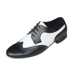 Mannen Echt leer Flats Latijn Ballroom Swing Dansschoenen (053046442)