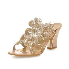 Naisten Keinonahasta Chunky heel Sandaalit Tossut jossa Tekojalokivi kengät (087048655)