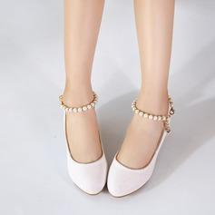 Jentas Lukket Tå Leather lav Heel Pumps Flower Girl Shoes med Imitert Perle (207153567)