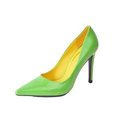 кожа Высокий тонкий каблук На каблуках Закрытый мыс обувь (085059875)