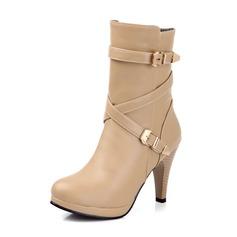 Couro Salto agulha Bota no tornozelo com Fivela sapatos (088052907)