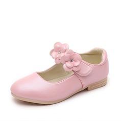 Fille de Bout fermé similicuir talon plat Chaussures plates Chaussures de fille de fleur avec Velcro Une fleur (207102012)