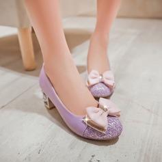 Женщины кожа Устойчивый каблук На каблуках с бантом блестками обувь (085103252)