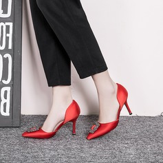 Женщины Шелковые Высокий тонкий каблук На каблуках Закрытый мыс с хрусталь обувь (085113626)