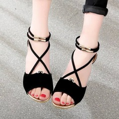 Женщины Замша Вид каблука Сандалии Танкетка Открытый мыс с Застежка-молния обувь (087131890)