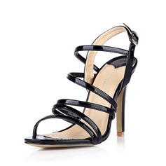 Patent Leather Stiletto Heel Sandals Pumps Peep Toe Slingbacks With Buckle shoes (087042775)