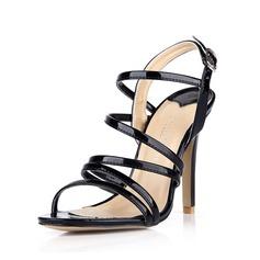 Patent Leather Stiletto Heel Sandalen Pumps Peep Toe Slingbacks met Gesp schoenen (087042775)