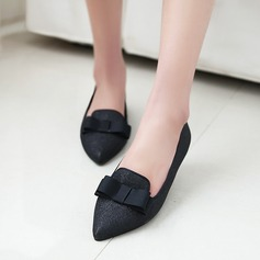 Women's Suede Flat Heel Flats Platform With Bowknot shoes (086145703)