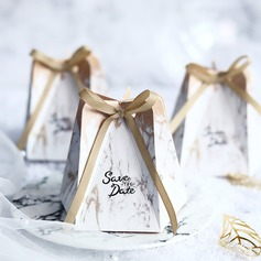 Довольно цветочная тема сумка форму картона бумаги Мешочки с Ленты (набор из 24) (050203430)