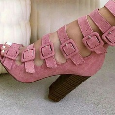 Женщины Замша Устойчивый каблук Сандалии На каблуках Открытый мыс с пряжка обувь (085124948)