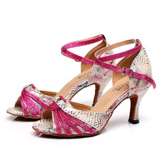 Женщины кожа На каблуках Сандалии Латино с В дырочку Обувь для танцев (053105434)