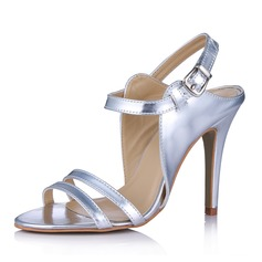 кожа Круглый зауженный каблук Сандалии Открытый мыс Босоножки с пряжка обувь (087029172)