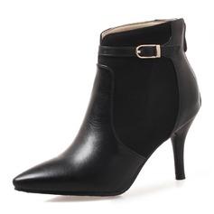 Femmes Similicuir Talon stiletto Bout fermé Bottes Bottines avec Boucle Zip chaussures (088172568)