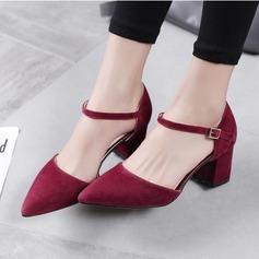 Женщины Замша Устойчивый каблук На каблуках обувь (085102139)