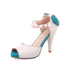 Konstläder Stilettklack Sandaler Peep Toe med Fören skor (087050269)
