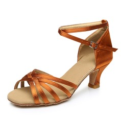 Women's Satin Heels Sandals Latin With Ankle Strap Dance Shoes (053092241)