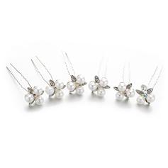 Дамы прекрасный хрусталь/Перлы ложный заколки с искусственный жемчуг/хрусталь (набор из 5) (042148459)