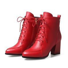 Женщины кожа Устойчивый каблук На каблуках Полусапоги с Застежка-молния Шнуровка обувь (088103928)