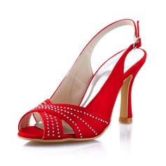 De mujer Satén Tacón Stilettos Encaje Salón Solo correa con Diamante de Imitación (047041565)